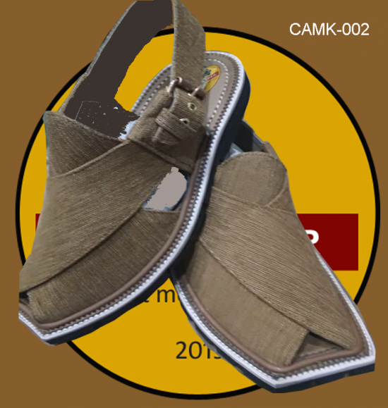 camel color khaddar cloth chappal